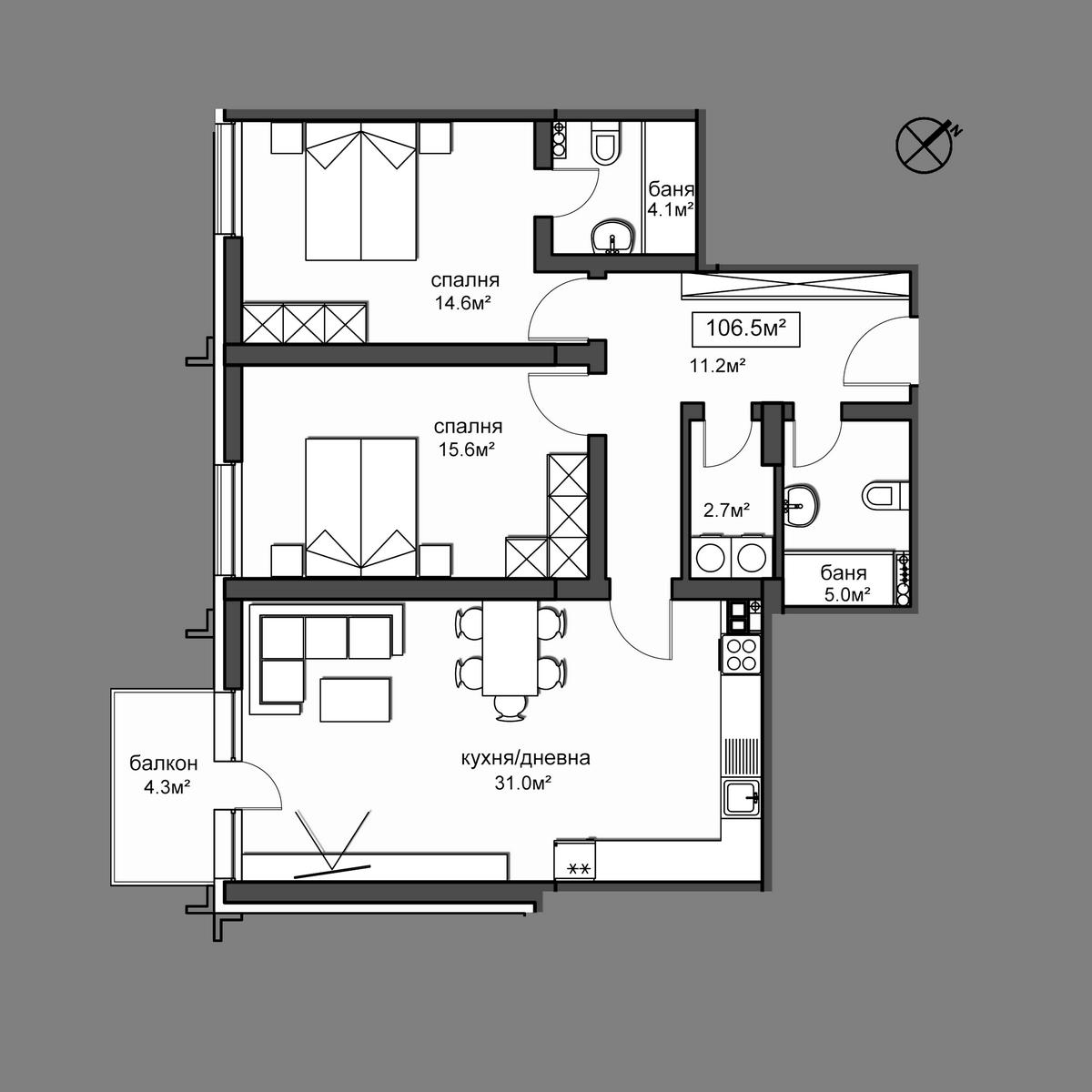 Продава апартамент ново строителство - Апартамент  33