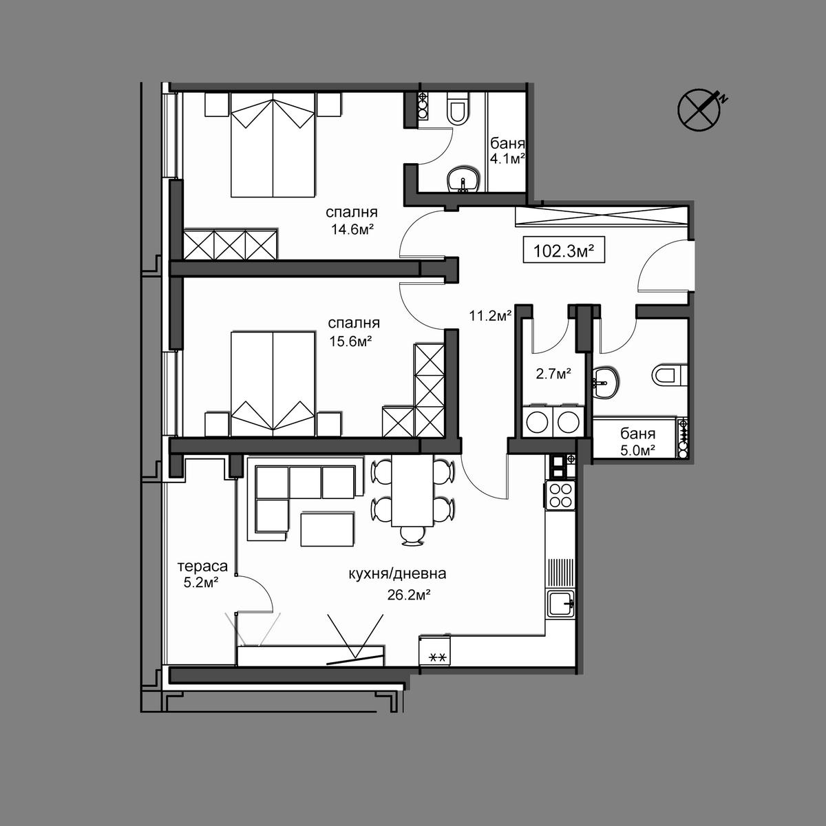 Продава апартамент ново строителство - Апартамент 9