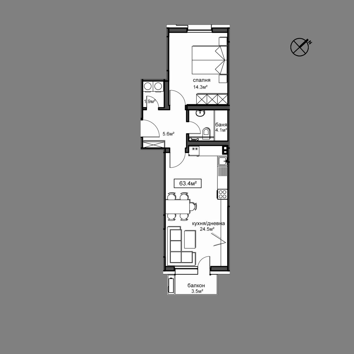 Продава апартамент ново строителство - Апартамент А6