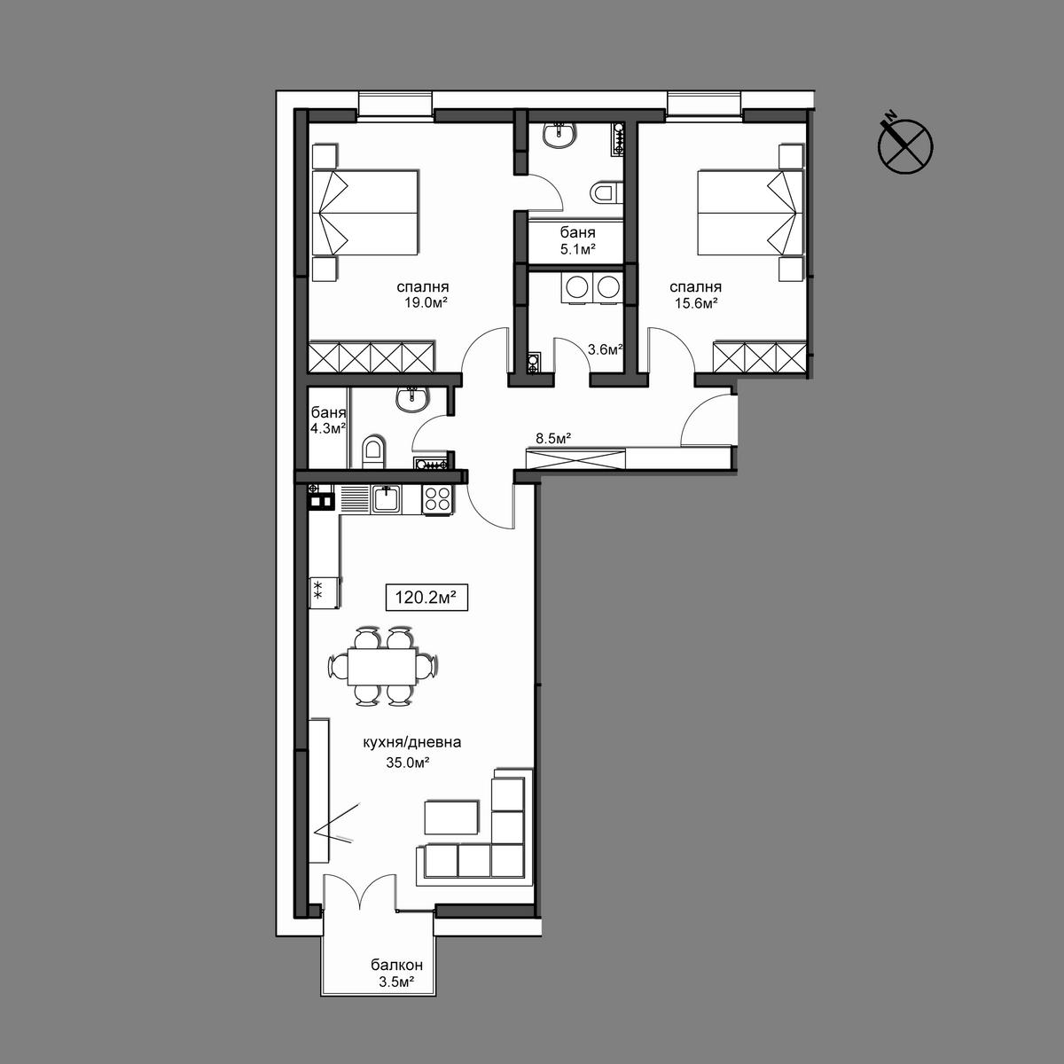 Продава апартамент ново строителство - Апартамент 5