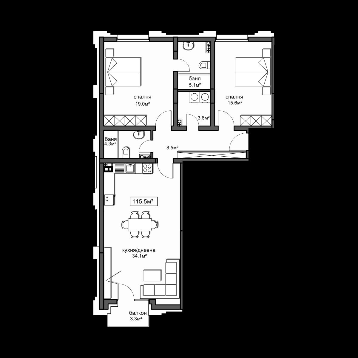 Продава апартамент ново строителство - Апартамент 21