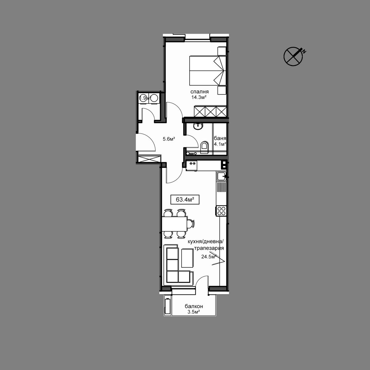 Продава апартамент ново строителство - Апартамент А15