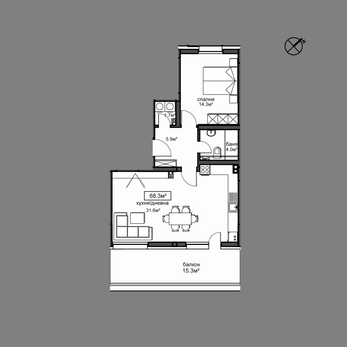 Продава апартамент ново строителство - Апартамент А23