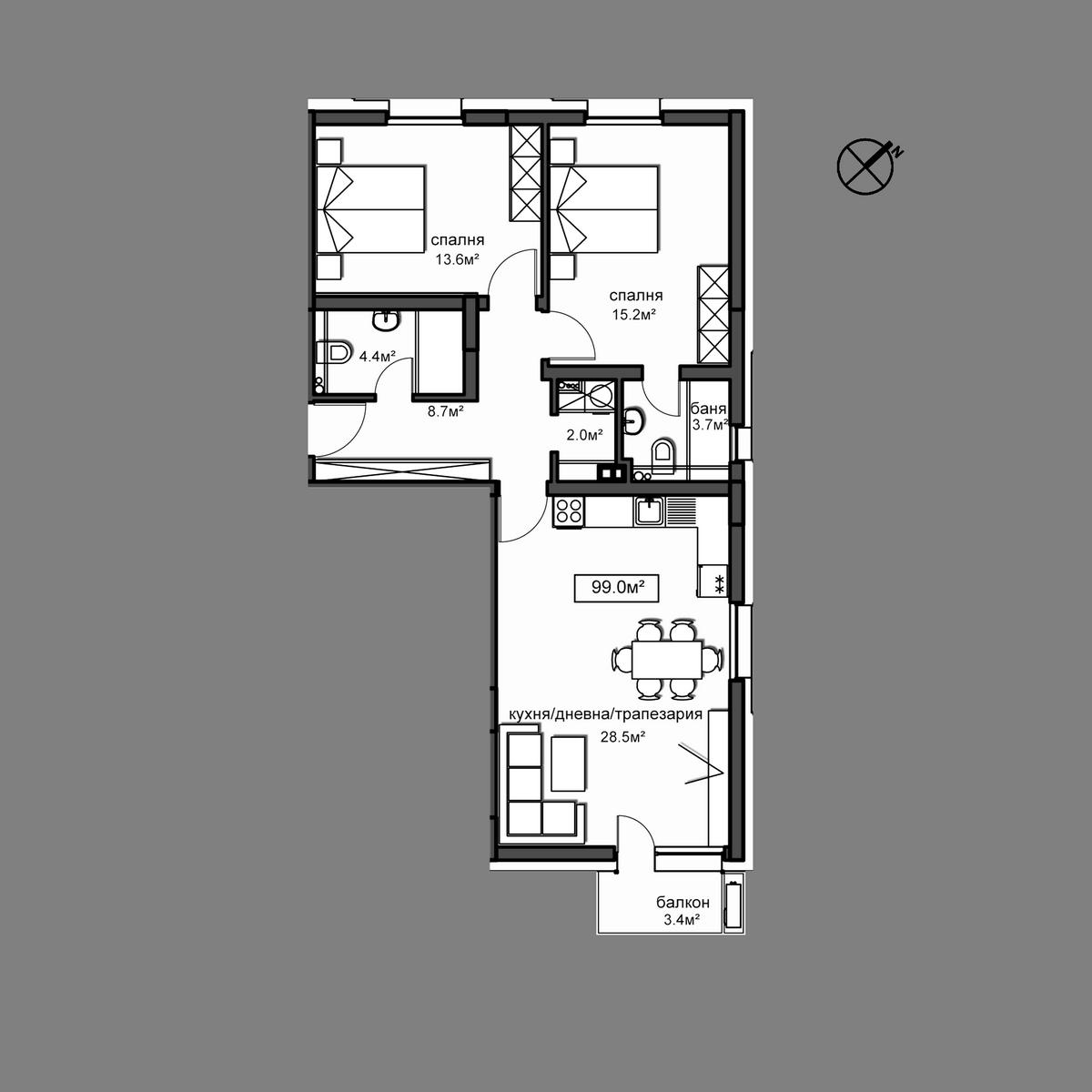 Продава апартамент ново строителство - Апартамент Б14