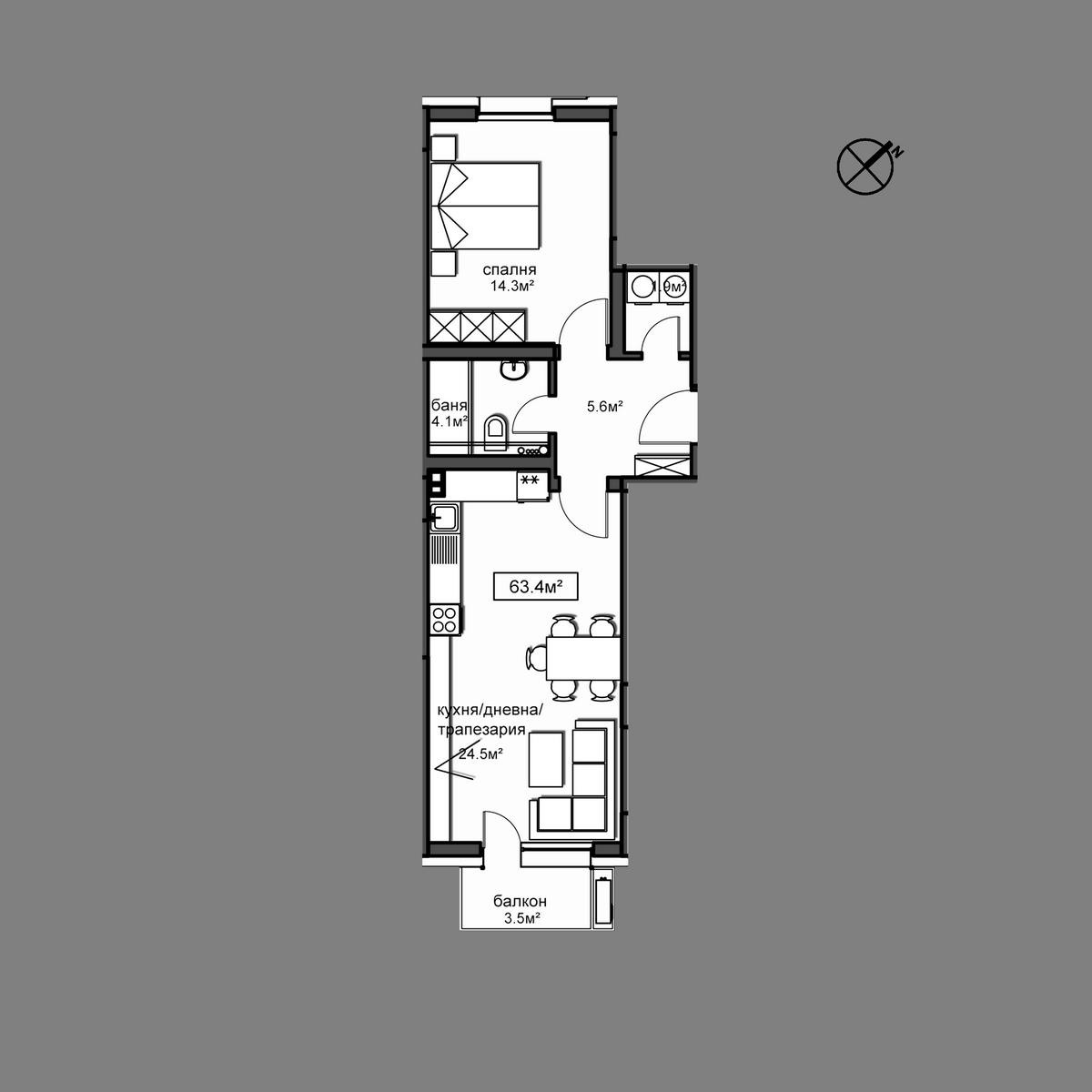 Продава апартамент ново строителство - Апартамент  Б15