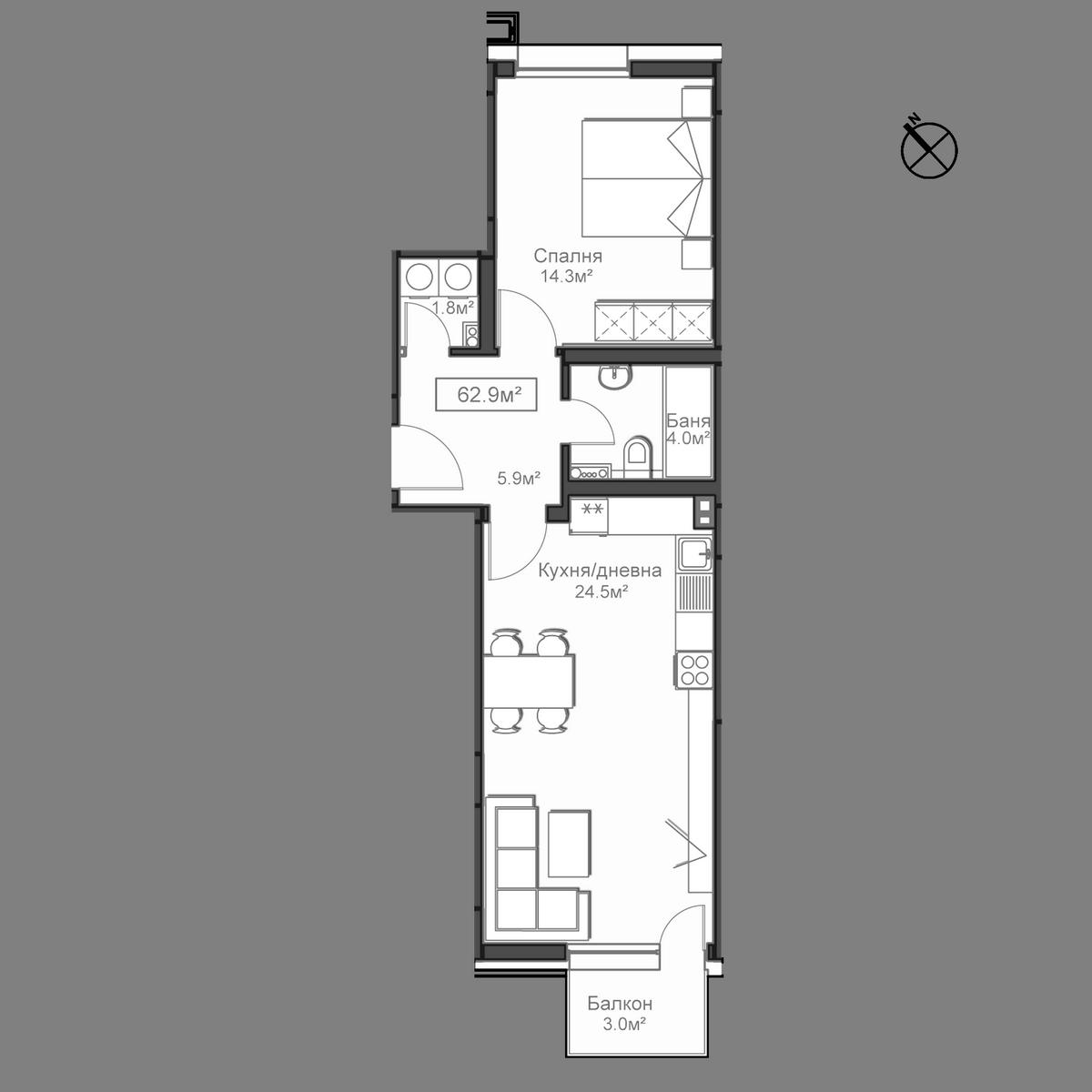 Продава апартамент ново строителство - Апартамент А12