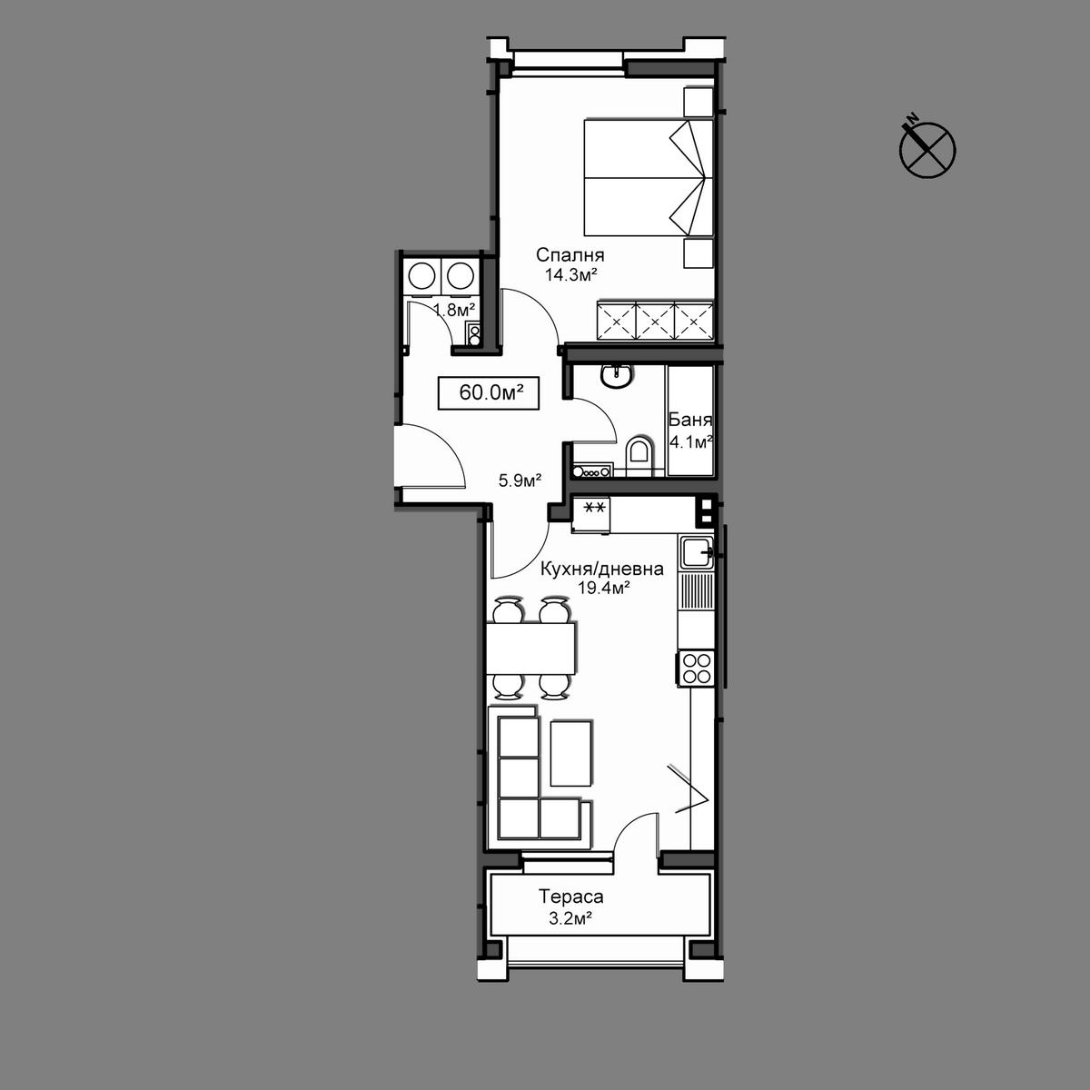 Продава апартамент ново строителство - Апартамент А21