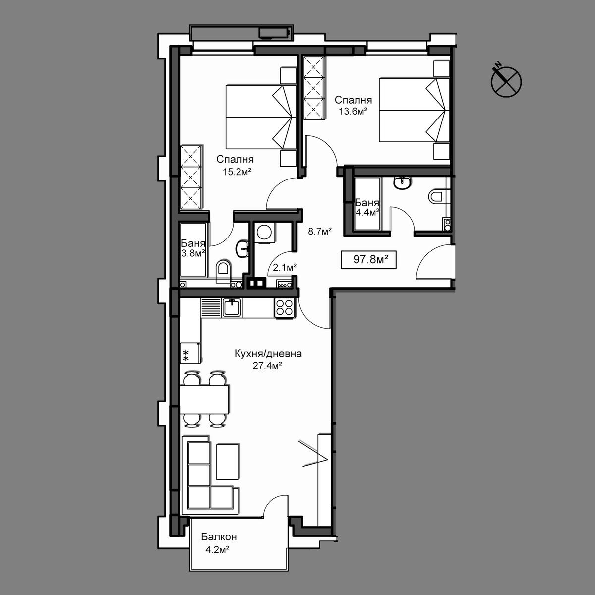 Продава апартамент ново строителство - Апартамент А22