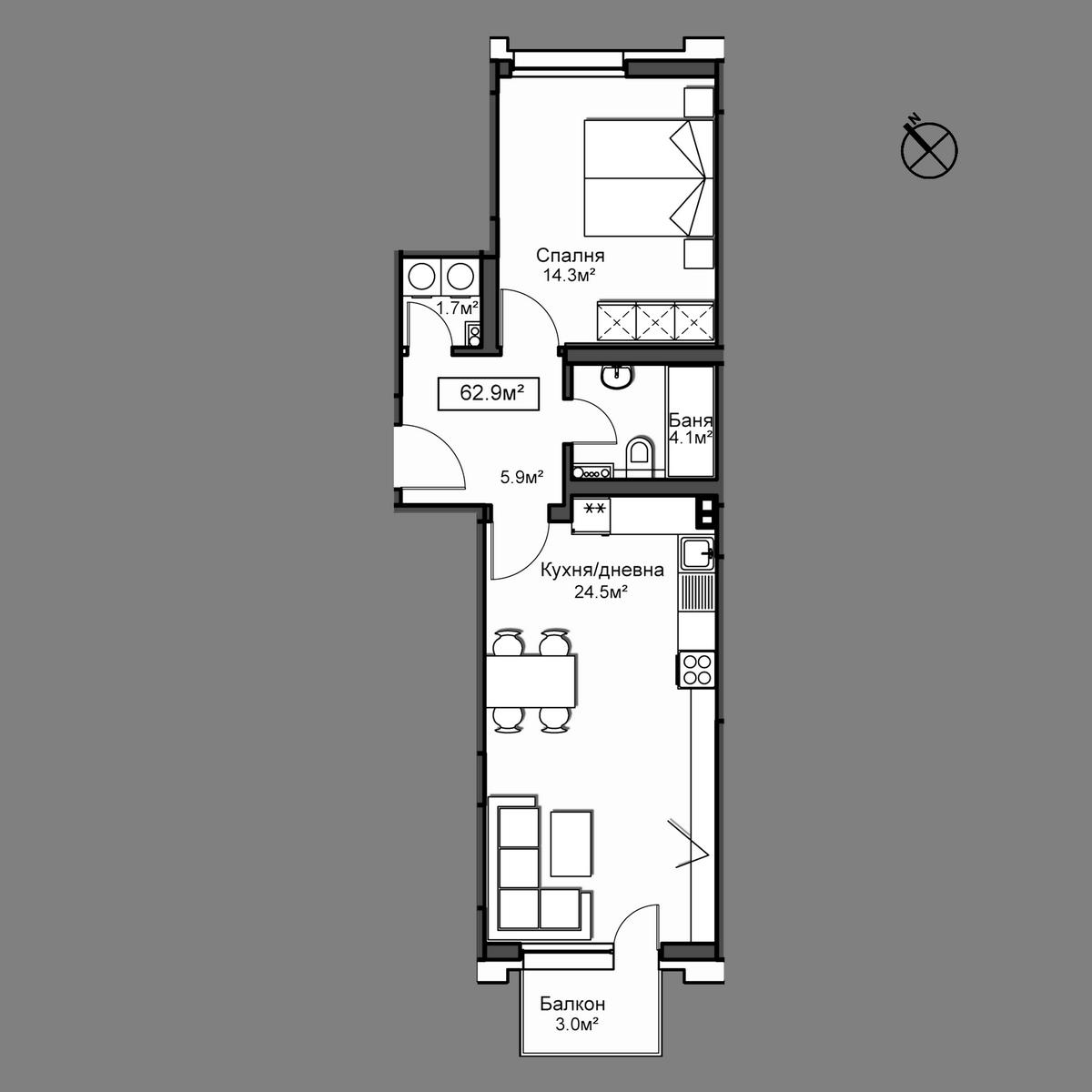 Продава апартамент ново строителство - Апартамент А24