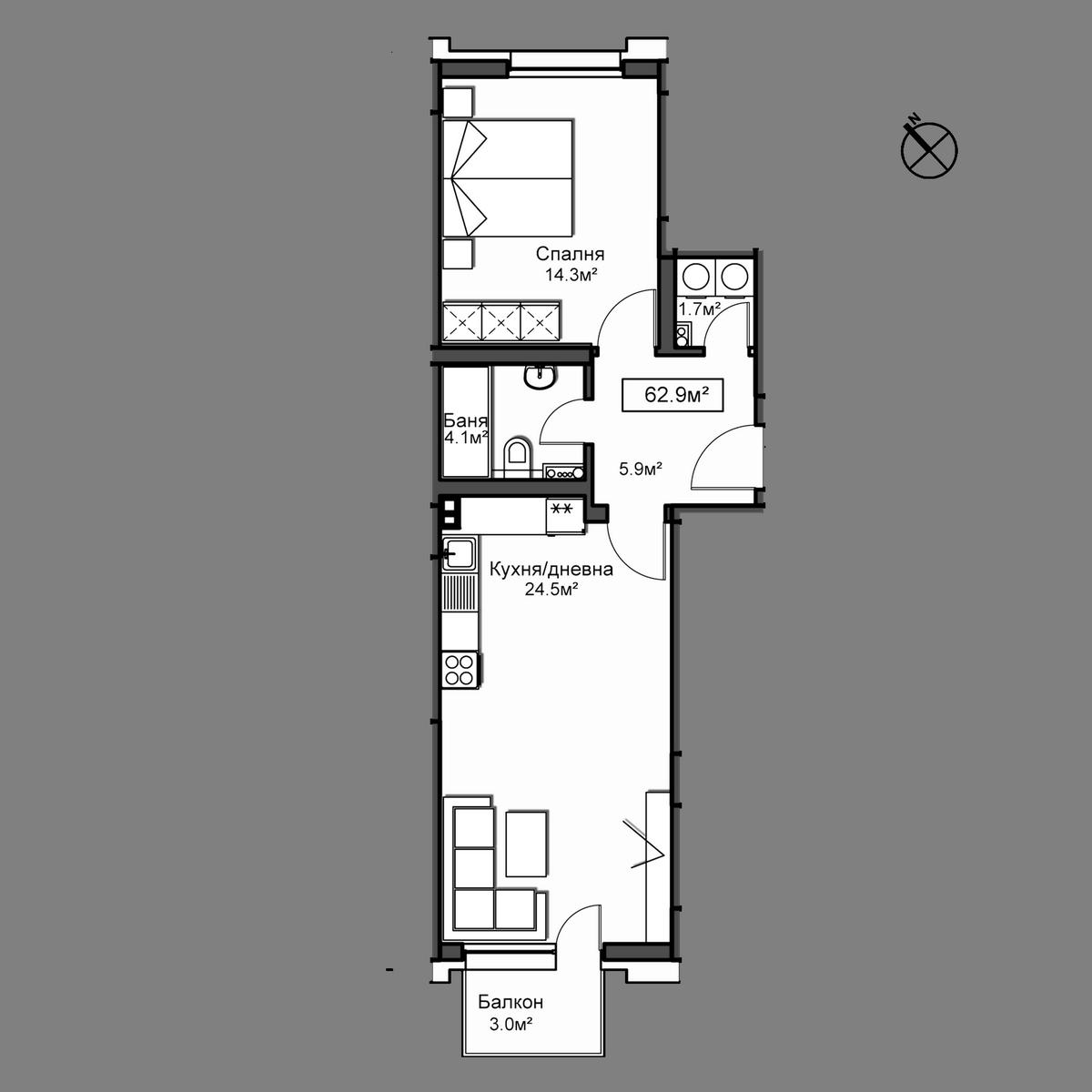 Продава апартамент ново строителство - Апартамент Б22