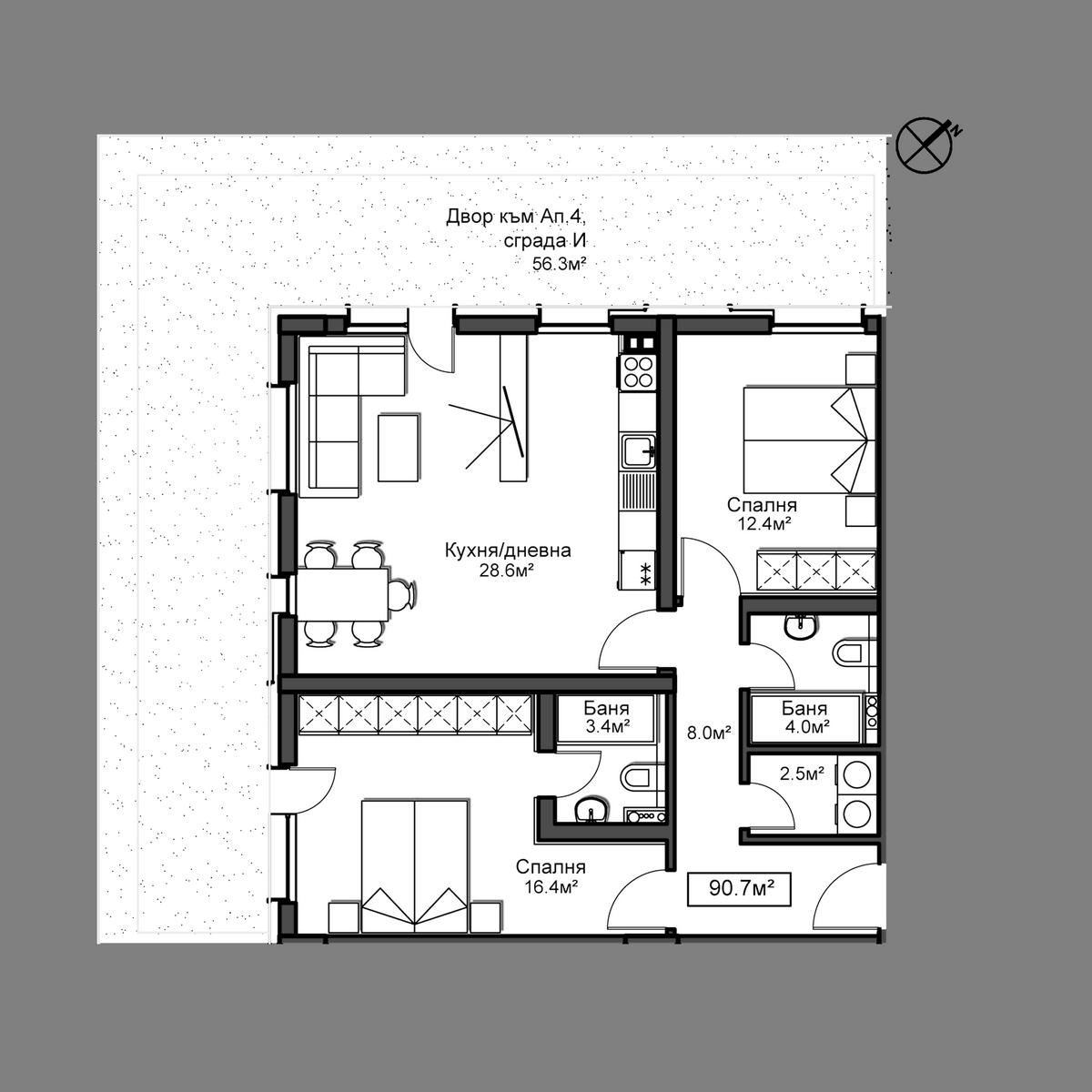 Продава апартамент ново строителство - Апартамент 4