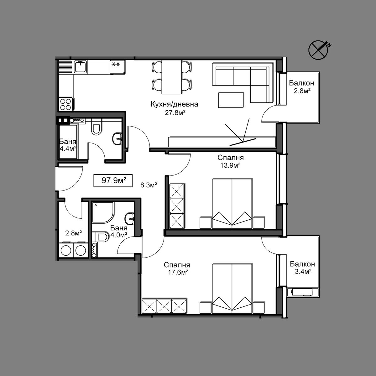 Продава апартамент ново строителство - Апартамент 13