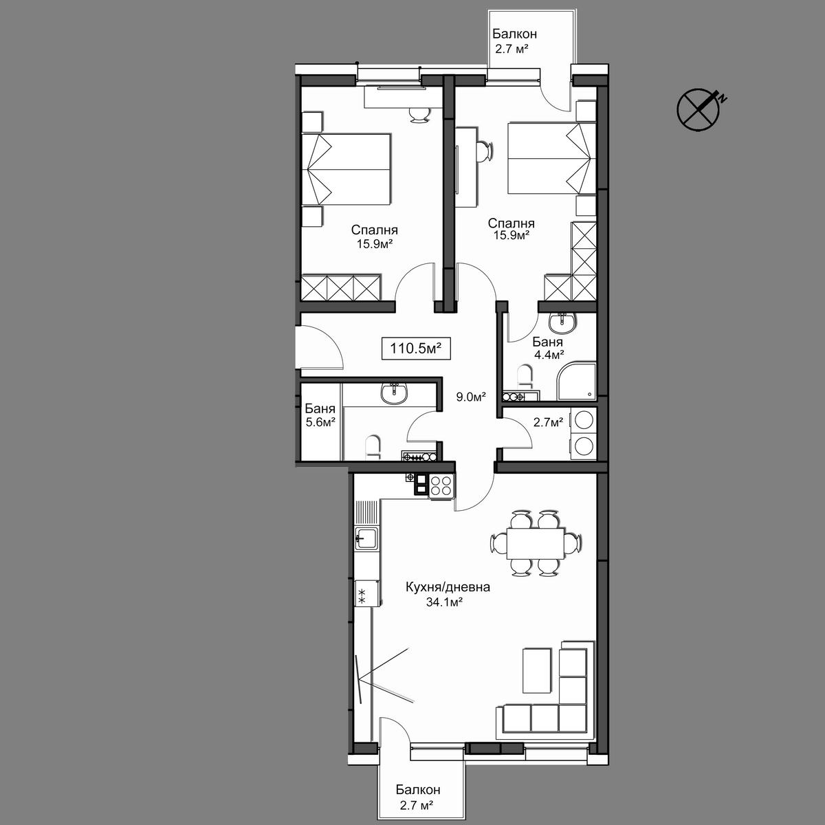 Продава апартамент ново строителство - Апартамент 15