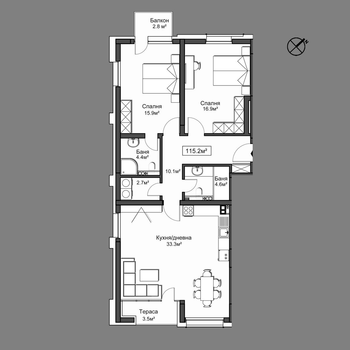 Продава апартамент ново строителство - Апартамент 22