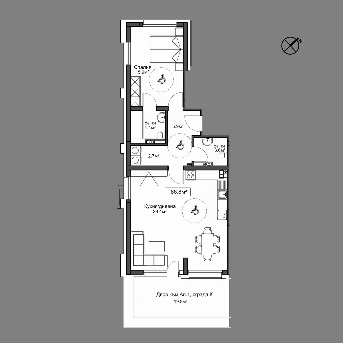 Продава апартамент ново строителство - Апартамент 1