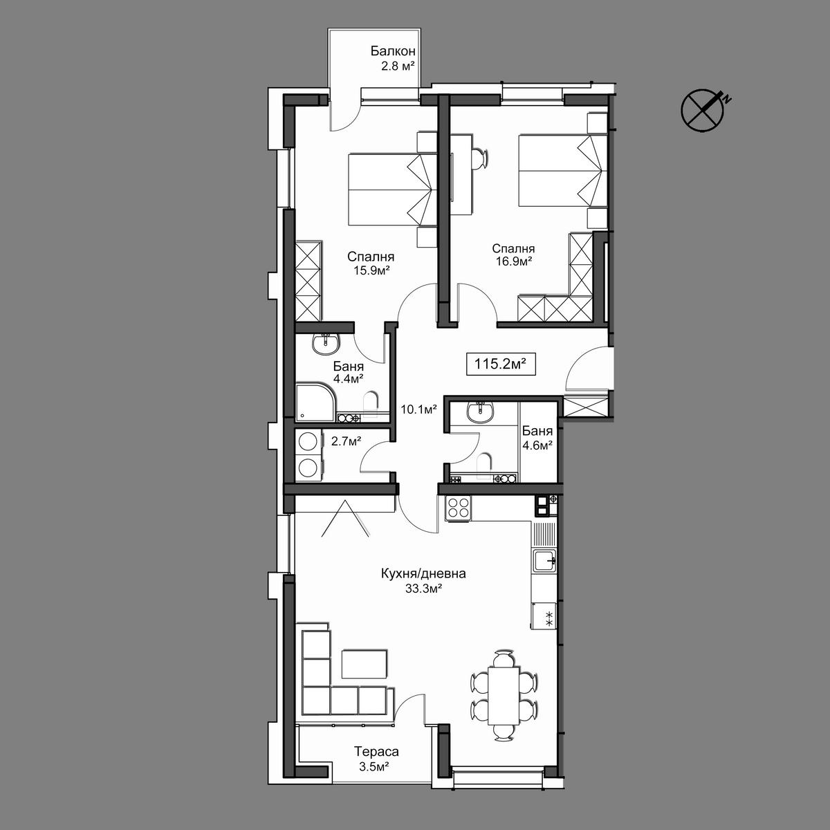 Продава апартамент ново строителство - Апартамент 7