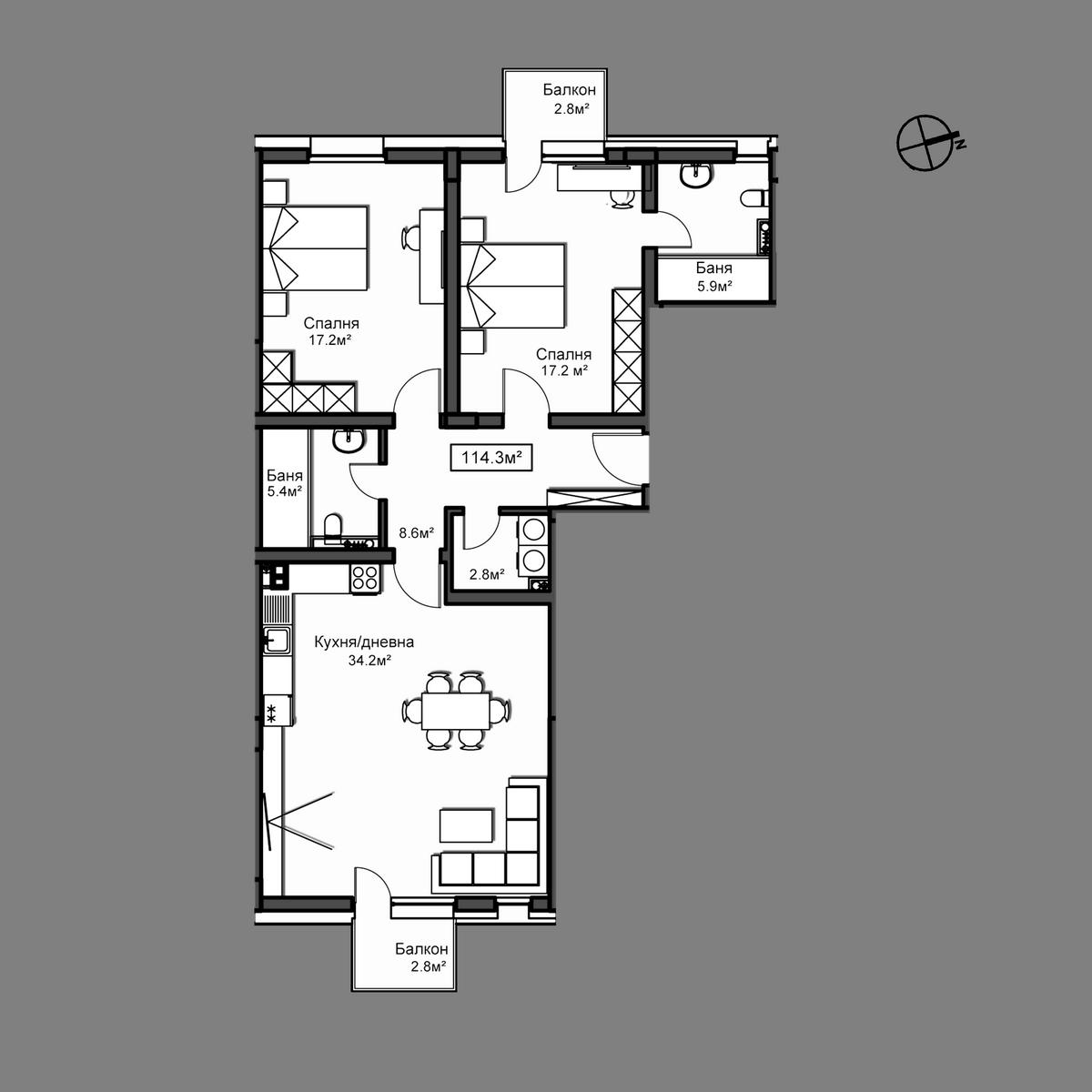 Продава апартамент ново строителство - Апартамент Б8