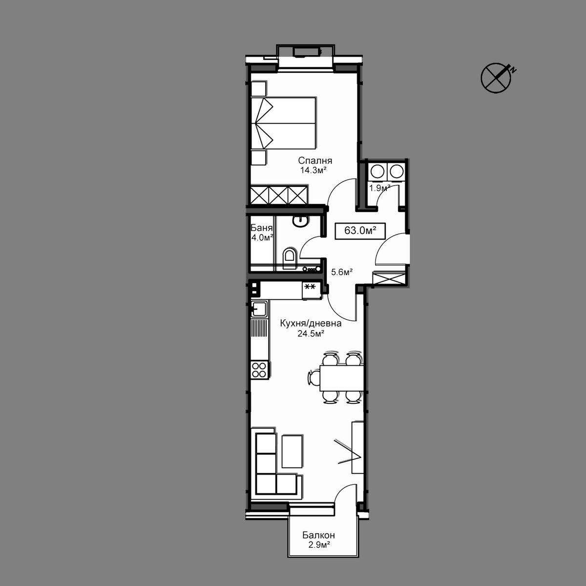 Продава апартамент ново строителство - Апартамент Б1