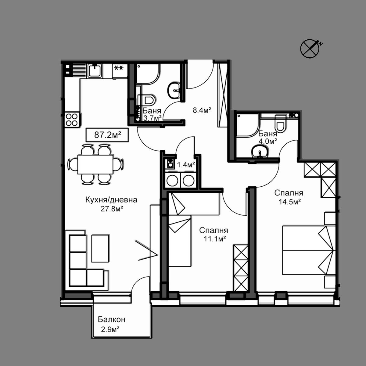 Продава апартамент ново строителство - Апартамент В3