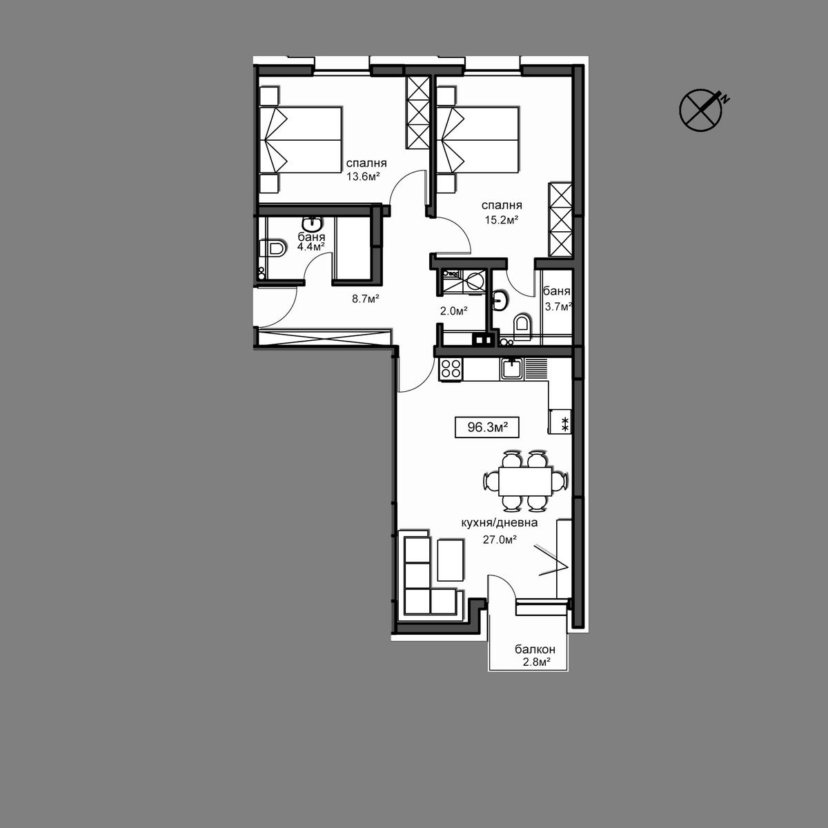 Продава апартамент ново строителство - Апартамент  Б12