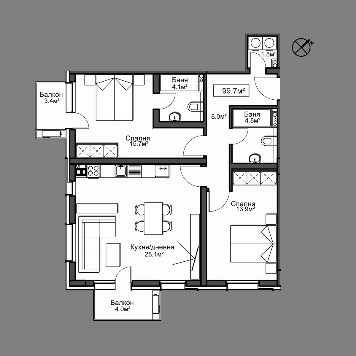 Продава апартамент ново строителство - Апартамент 46