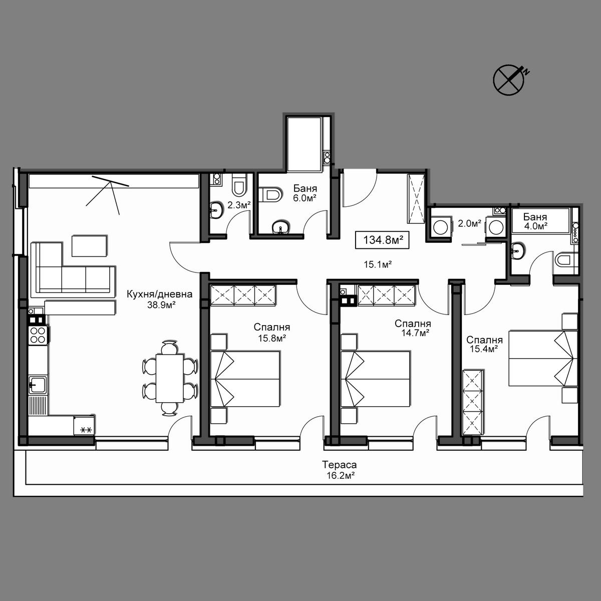 Продава апартамент ново строителство - Апартамент 51