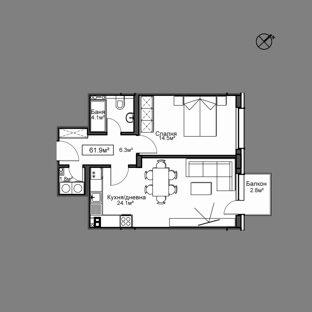 Продава апартамент ново строителство - Апартамент 35